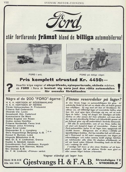 Ford reklam 1913